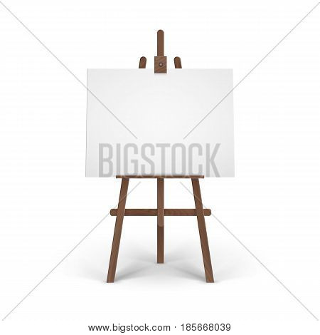 Vector Wooden Brown Easel with Mock Up Empty Blank Horizontal Canvas Isolated on Background