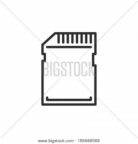 SD card line icon outline vector sign linear style pictogram isolated on white. Symbol logo illustration. Editable stroke. Pixel perfect