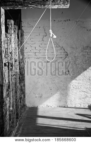 Hangman noose with loops over brick wall