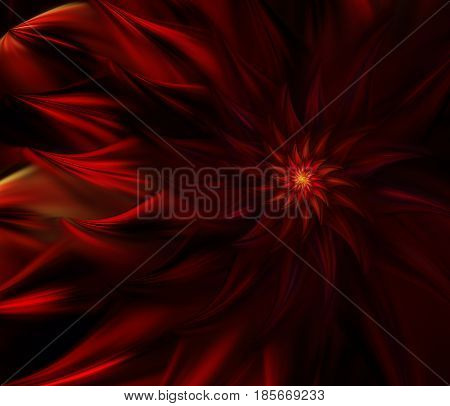An abstract computer generated modern fractal design on dark background. Abstract fractal color texture. Digital art. Abstract Form & Colors. Abstract fractal element pattern for your design. Mysterious fire flower. Spiral dance of fire