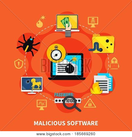 Malicious software flat design concept with hacking computer screen in centre and firewall virus bug trojan horse signs around cartoon  vector illustration