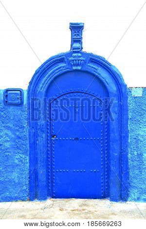 Historical Blue  In  Antique Building Door Morocco      Style Africa   Wood And Metal Rusty