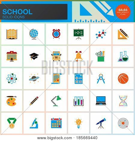 School vector icons set colorful solid symbol collection education pictogram pack isolated on white pixel perfect logo illustration