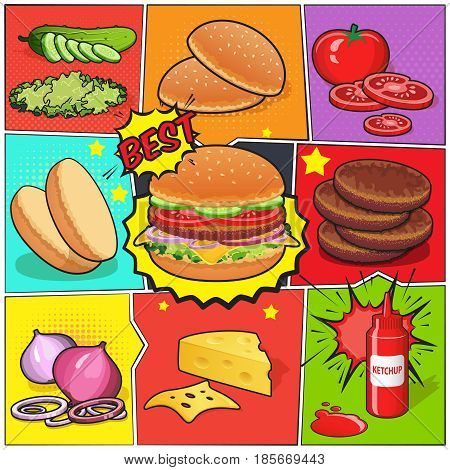 Comic book page with burger and ingredients including cutlets vegetables ketchup on divided colorful background vector illustration