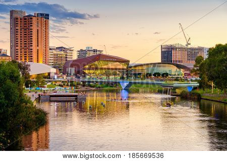 Adelaide Australia - April 05 2017: Adelaide city skyline at sunset viewed across Torrens river from King William bridge