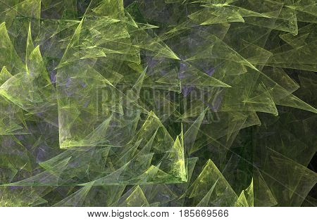 An abstract computer generated modern fractal design on dark background. Abstract fractal color texture. Digital art. Abstract Form & Colors. Green triangles