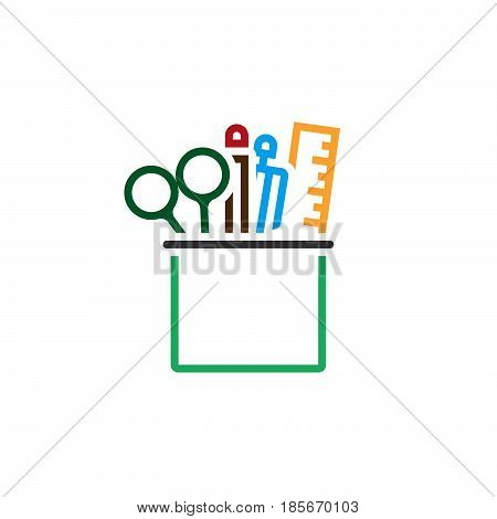 Pencil Cup With Stationary Line Icon, Outline Vector Logo, Linear Pictogram Isolated On White, Pixel