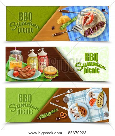 Bbq summer picnic horizontal banners set with grilled meat and fish, sauces, tableware, napkin, isolated vector illustration