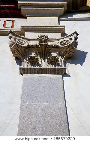 Wall Milan   Italy Old   Concrete Doric Stone