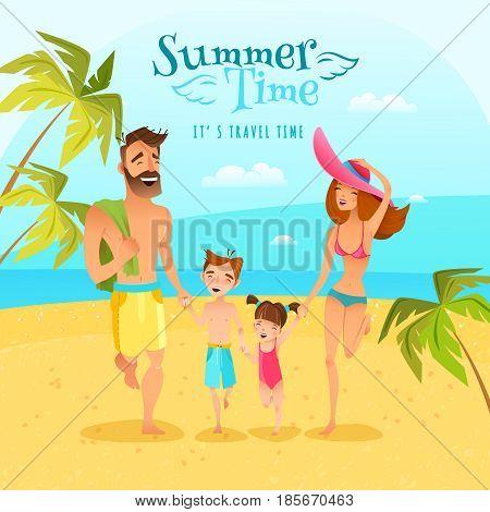 Happy family with two children spending summer season at seaside cartoon vector illustration