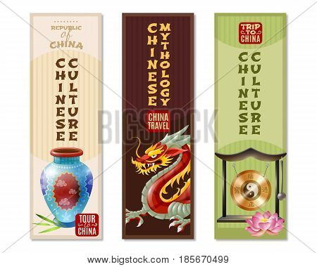 Three china travel vertical banner set with Chinese culture and mythology headlines vector illustration