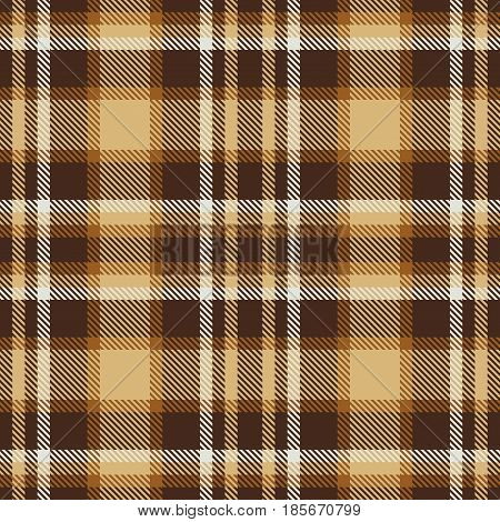 Brown Tartan Seamless Vector Pattern. Checkered Plaid Texture. Geometrical Simple Square Background
