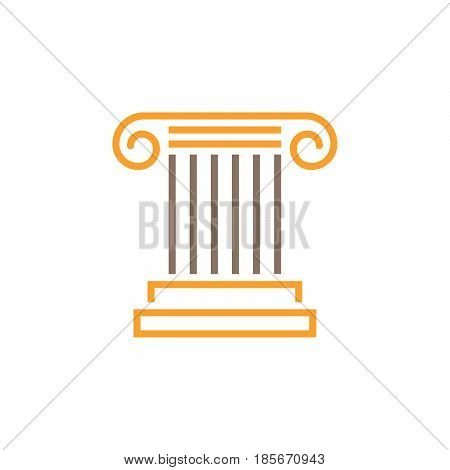 Antique Column Line Icon, Pillar Outline Vector Logo, Linear Pictogram Isolated On White, Pixel Perf