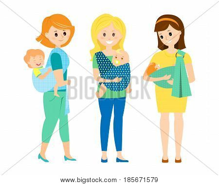 Three happy mothers with children in slings..Mother with slipping baby.Mother with twins. Mother with baby on her back in a sling scarf.Isolated on white background. Vector illustration.
