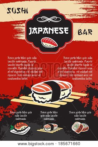 Sushi bar vector for Japanese seafood restaurant menu. Design of sushi and rolls with salmon fish slice tempura prawn and rolls with shrimps, steamed rice and noodles or miso soup for sea food cuisine