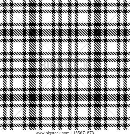 Black And White Tartan Seamless Vector Pattern. Checkered Plaid Texture. Geometrical Simple Square B