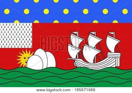 Flag of Lorient is a commune and a seaport in the Morbihan department in Brittany in north-western France. Vector illustration