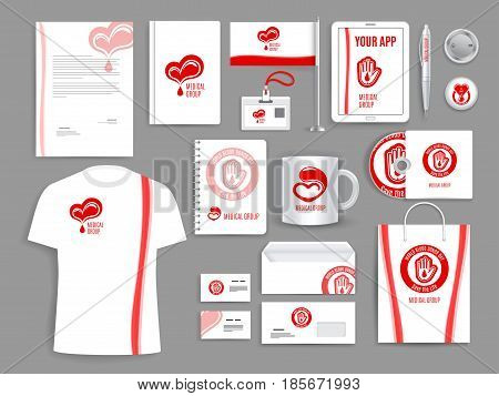 Blood donation medical organization vector promotion templates set of accessories and supplies. Isolated office stationery, business card, t-shirt and envelope, mug and badges or notepads