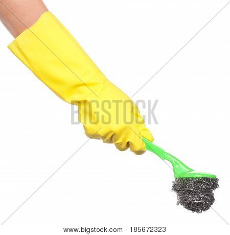 Woman hand in rubber gloves with wire wool scourer isolated on white background