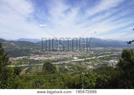 very nice view of magra valley take from trebbiano village near la spezia