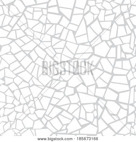 Vector Seamless Stone Pattern. Broken Glass. Abstract Mosaic Pattern. Gray And White Background. For