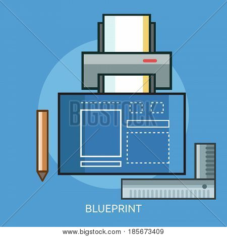 Blueprint Conceptual Design   Great flat illustration concept icon and use for technology, Business, Creative Idea, Concept and much more.