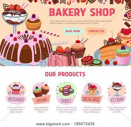 Bakery shop landing page or vector web site for pastry and desserts. Design of chocolate cake and candy sweets, wafer, cupcake and donut, tiramisu pie or brownie torte and ice cream for cafe