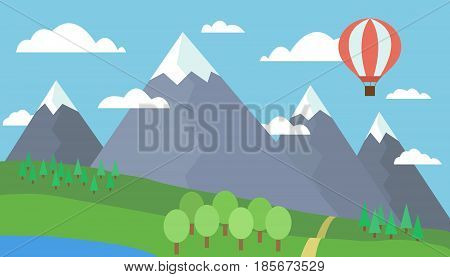 Cartoon colorful vector illustration of a mountain landscape with a hill forest and lake on a grassy meadow under a blue sky with clouds and a red hot air balloon