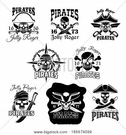 Pirate skull with crossbones icons. Jolly Roger pirate flag symbol of skeleton wearing hat, eyepatch, bandana and earring with crossed sword and knife, compass wind rose and chain on background