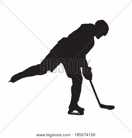 Ice hockey player shooting vector isolated silhouette