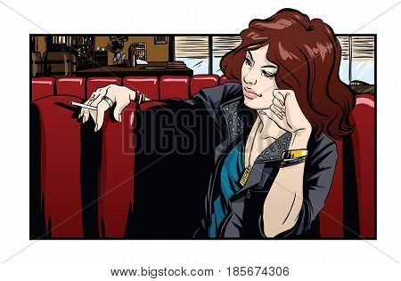 Beautiful woman sitting  in cafe. Vector illustration.