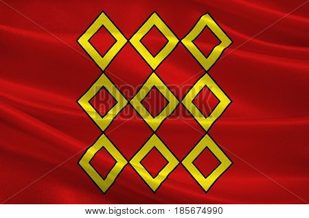 Flag of Pontivy is a commune in the Morbihan department in Brittany in north-western France. 3D illustration