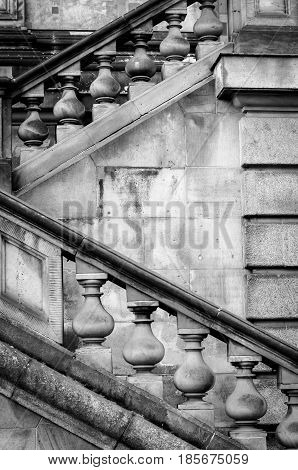 detail of diagonal stairs neoclassicism at berlin museum