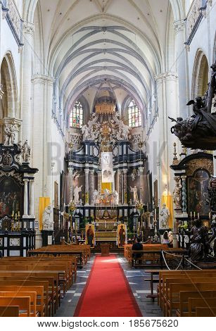 Baroque High Altar In St Andrew Church Of Antwerp, Belgium