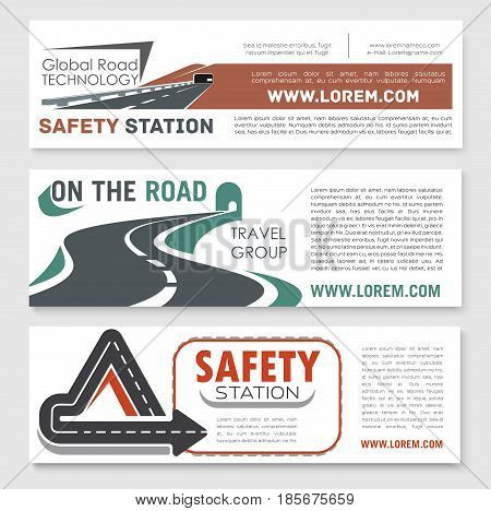 Road safety and highway construction technology vector banners set for global motorway building or investment company. Design of transport bridges and tunnels in drives and road traffic lanes