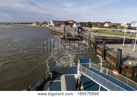 ESBJERG DENMARK - MAY 5 2017: Ferry from Fano to Esbjerg in the Danish wadden sea. Just leaving Nordby May 5 2017.