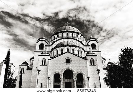 B&W the Saint Sava christian catedral with blue cloudy sky in the capital Belgrade