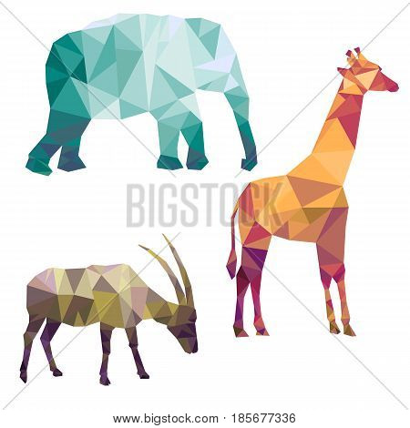 polygonal silhouettes of african animals, triangulation of elephant, gazelle and giraffe, isolated at white background
