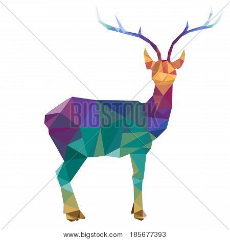 vector polygonal silhouette of deer with horns, triangulation of animal isolated at white background