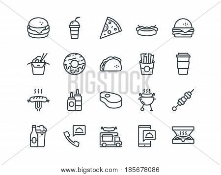 Fastfood. Set of outline vector icons. Includes such as Cheeseburger, Donut, Pizza and other. Editable Stroke. 48x48 Pixel Perfect
