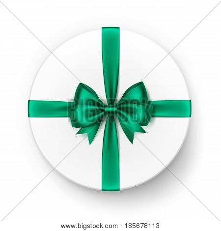 Vector White Round Gift Box with Shiny Bright Green Emerald Satin Bow and Ribbon Top View Close up Isolated on White Background