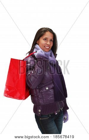 Young woman with a shopping bag over her shoulder.
