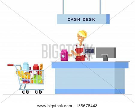 Supermarket store counter desk equipment and clerk in uniform ringing up meal purchases. Flat style vector illustration isolated on white background.