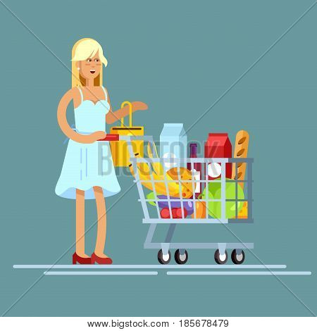 Flat illustration for shop, supermarket. Vector character woman with supermarket basket full of meal. Healthy eating and eco food in supermarket. Daily purchases.
