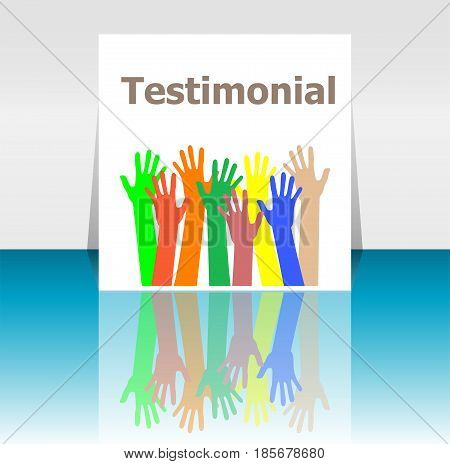 Text Testimonial. Business Concept . Human Hands Silhouettes