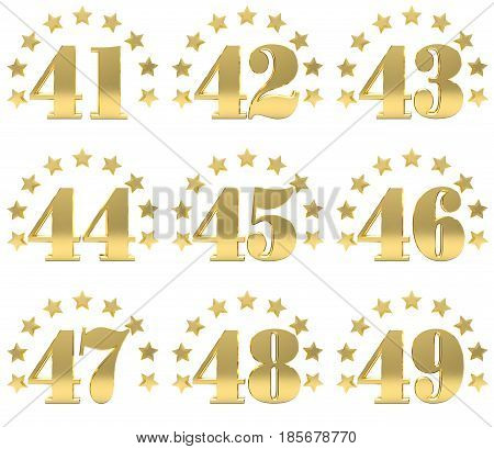 Set of golden digit from forty one to forty nine decorated with a circle of stars. 3D illustration