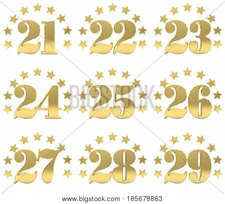 Set of golden digit from twenty one to twenty nine decorated with a circle of stars. 3D illustration