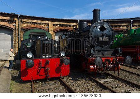 BERLIN - APRIL 21: Steam locomotive Borsig 9525 and DRG Kleinlokomotive Class I (Gmeinder) Spring Festival the exhibition in the Rail yard Schoeneweide April 21 2013 in Berlin Germany