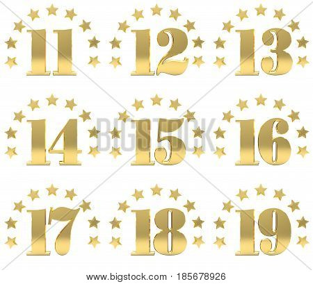 Set of golden digit from eleven to nineteen decorated with a circle of stars. 3D illustration