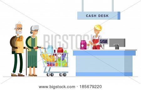 Concept illustration for shop. Vector character woman cashier in supermarket. Happy elderly couple with supermarket basket full of meal. Grandmother with grandfather make purchases in supermarket store.